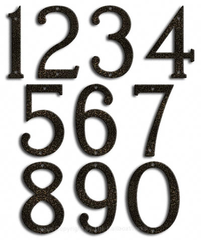 Medium Silver Vein House Numbers by Majestic 8 Inch