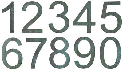 8 Inch Patina Copper Address Numbers