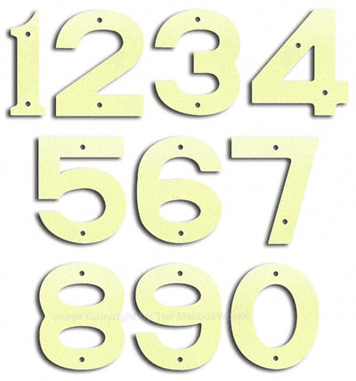 Small Brilliant White House Numbers by Majestic 5 Inch