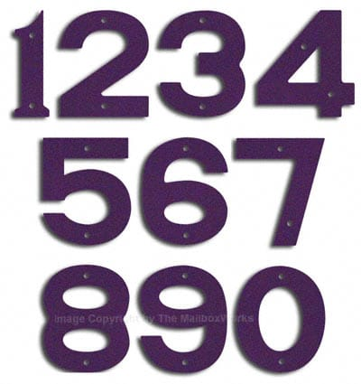 Small Deep Purple House Numbers by Majestic 5 Inch