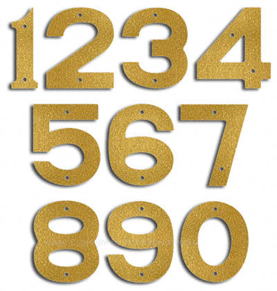 Small Gold House Numbers by Majestic 5 Inch