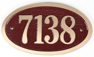 Majestic Solid Brass Small Oval Address Plaques