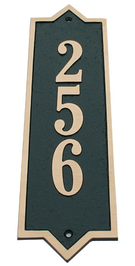 Majestic Solid Brass Vertical Address Plaques