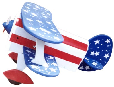 Patriotic Bi-Plane Novelty Airplane Mailbox