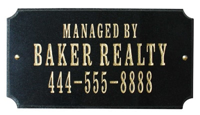 QualArc Executive Rectangle Granite Address Plaque