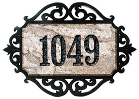 Qualarc Granite Address Plaque with Scroll Frame