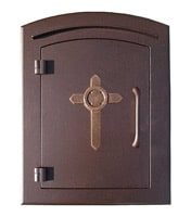 Manchester Mailbox Antique Copper Cross Design