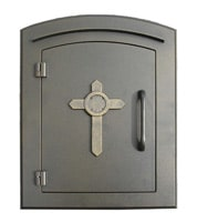 Manchester Mailbox Bronze Cross Design Door