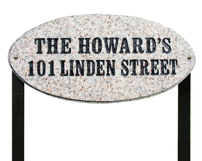 QualArc Rockport Oval Granite Lawn Marker Address Plaque Product Image