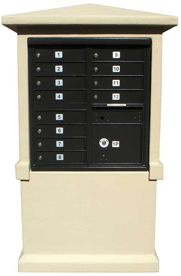 12 Door Cluster Mailbox Column in Decorative Stucco
