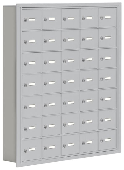 Salsbury 35 Door Cell Phone Lockers with A Doors Recessed Mount – No Master Access – 5 Inch Depth