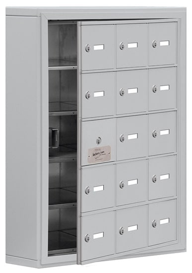 Salsbury 15 Door Cell Phone Lockers with A Doors Surface Mount – Front Master Access – 5 Inch Depth