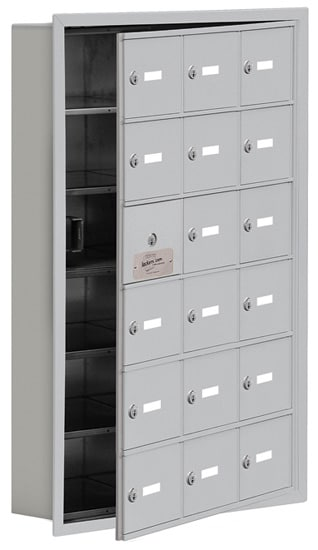 Salsbury 18 Door Cell Phone Lockers with A Doors Recessed Mount – Front Master Access – 5 Inch Depth