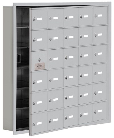 Salsbury 30 Door Cell Phone Lockers with A Doors Recessed Mount – Front Master Access – 5 Inch Depth