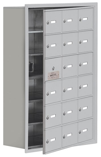 Salsbury 18 Door Cell Phone Lockers with A Doors Recessed Mount – Front Master Access – 8 Inch Depth
