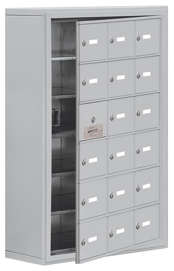 Salsbury 18 Door Cell Phone Lockers with A Doors Surface Mount – Front Master Access – 8 Inch Depth
