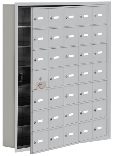 Salsbury 35 Door Cell Phone Lockers with A Doors Recessed Mount – Front Master Access – 5 Inch Depth