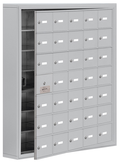 Salsbury 35 Door Cell Phone Lockers with A Doors Surface Mount – Front Master Access – 5 Inch Depth