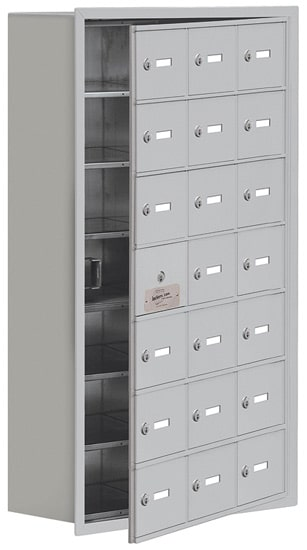 Salsbury 21 Door Cell Phone Lockers with A Doors Recessed Mount – Front Master Access – 8 Inch Depth
