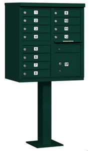 Salsbury 12 Door CBU Mailbox Green