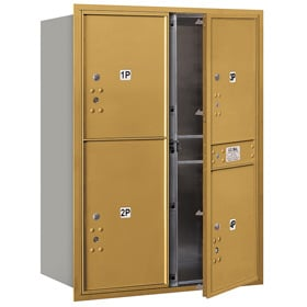 Salsbury 4C Mailboxes 3711D-4P Gold
