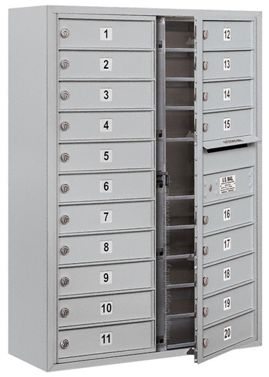 3711D-20 Front Loading Salsbury 4C Horizontal Mailboxes With Surface Mount Enclosure