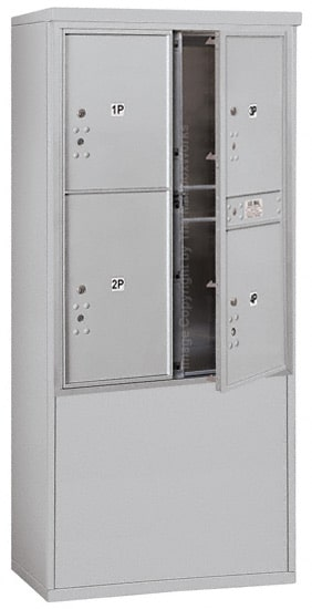3711D-4P Front Loading Salsbury 4C Horizontal Mailboxes With Free Standing Enclosure