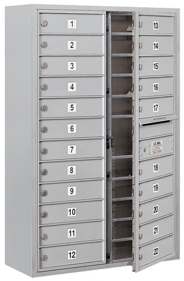 3712D-22 Front Loading Salsbury 4C Horizontal Mailboxes With Surface Mount Enclosure