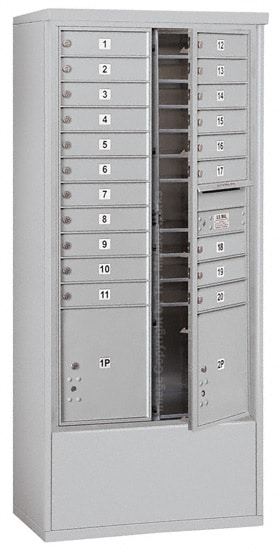 3716D-20 Front Loading Salsbury 4C Horizontal Mailboxes With Free Standing Enclosure