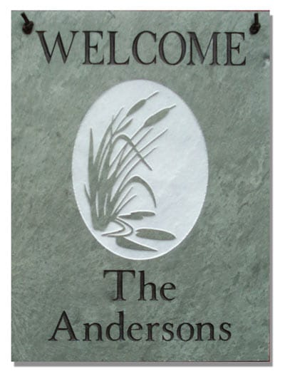 Stone Mill Cattails Rectangle Welcome Plaque
