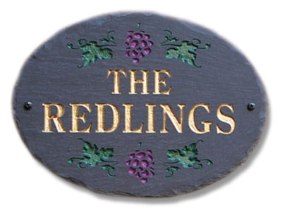 Stone Mill Grapes Oval Address Plaque