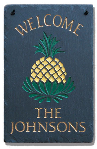 Stone Mill Pineapple Rectangle Welcome Plaque