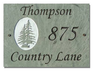 3 Line Pine Trees Rectangle Plaque