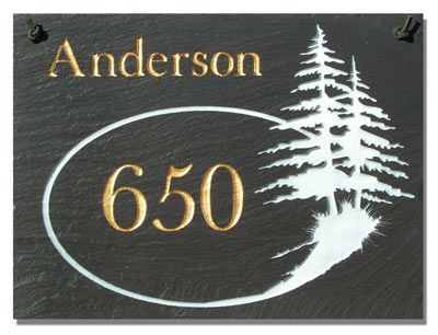 2 Line Pine Trees Rectangle Plaque