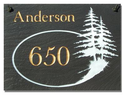 2 Line Pine Trees Rectangle Plaque