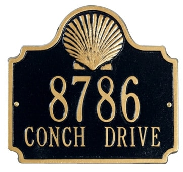 Whitehall Conch Address Plaque Two Lines