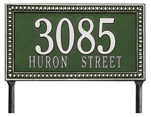 Whitehall Egg and Dart Rectangle Lawn Marker Address Plaque
