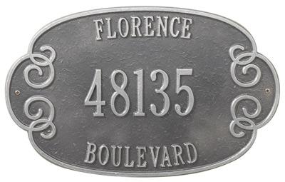 Whitehall Florence Address Plaque Three Lines