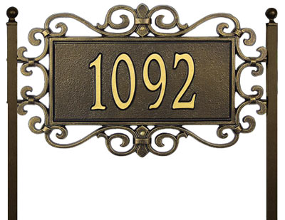 Whitehall Mears Fretwork Rectangle Lawn Address Plaque Product Image