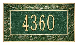 Whitehall Pinecone Address Plaque One Line