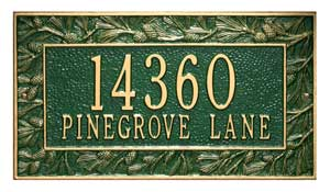 Whitehall Pinecone Address Plaque Two Lines