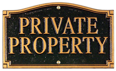 Whitehall Private Property Statement Plaque