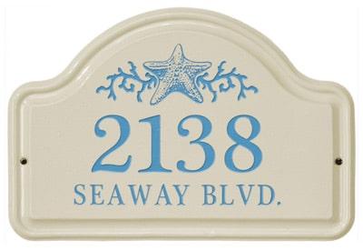 Whitehall Star Fish Arch Ceramic Address Plaque