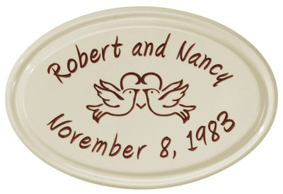 Anniversary Heart Birds Oval Ceramic Plaque