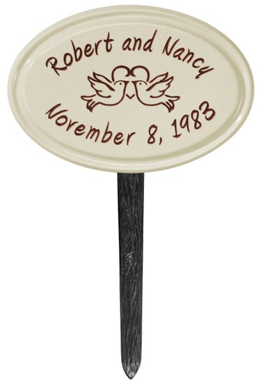 Whitehall Anniversary Heart Birds Petite Oval Ceramic Lawn Marker