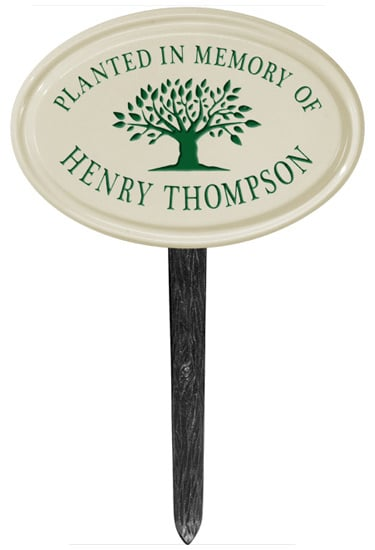 Tree Memorial Oval Ceramic Lawn Marker