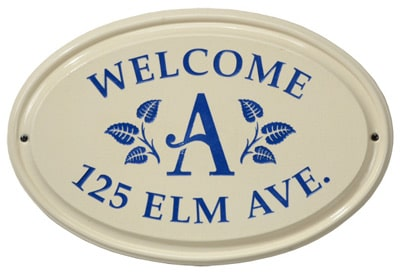 Whitehall Leaf Monogram Oval Ceramic Plaque