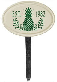 Pineapple Petite Oval Lawn Marker Green