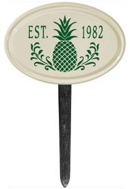 Pineapple Petite Oval Lawn Marker Green