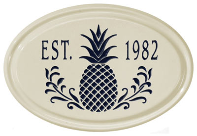 Whitehall Pineapple Petite Oval Ceramic Plaque